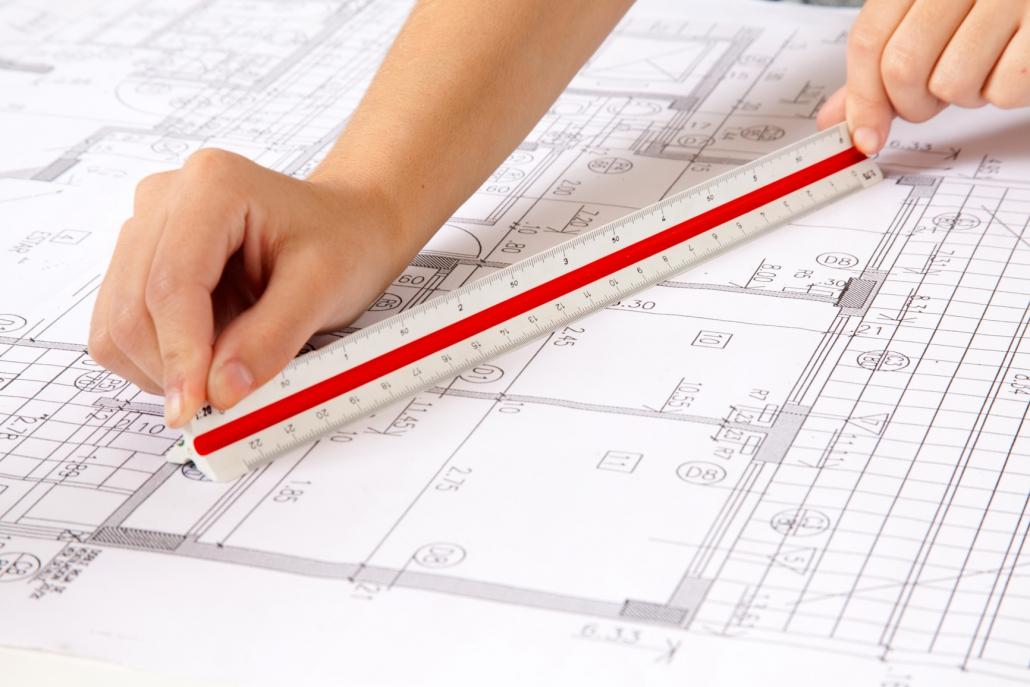 Entwurfszeichnung Wohndesign und Einbauküche